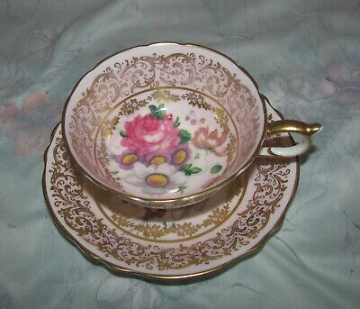 Vintage Paragon Pink and Gold Floral Cabbage Rose Tea cup and Saucer