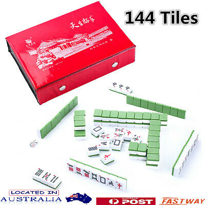 Professional Chinese Mahjong Game Set With ENGLISH CHARACTERS 144Tiles + Box AU