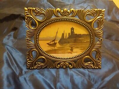 Vintage small oval solid brass ornate picture frame