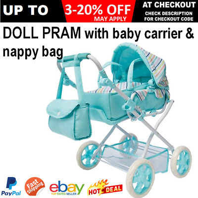 Girls Pretend Doll Pram Stroller Deluxe Adjustable Seat Baby Carrier & Bag Set