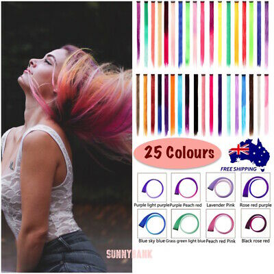 Clip On In Colorful Hair Extension Coloured Synthetic long Hair Party Clips DIY