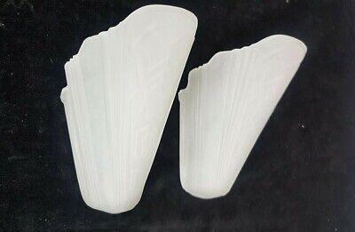 Two Vintage Markel Art Deco Frosted Glass Shades Slip Shade Wall Sconces Lights