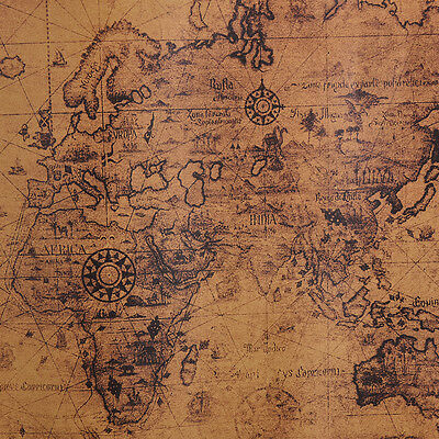 Large Vintage Style Retro Paper Poster Globe Old World Map Gifts 72x51cm  ,Q