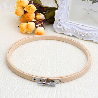 1*Circle Embroidery Frame Art Cross Stitch Tapestry Hoop Wooden DIY Metal Bamboo