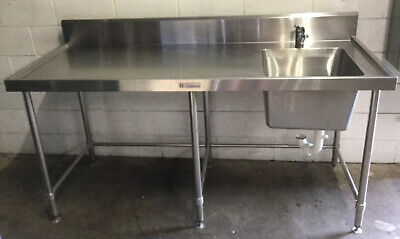 Commercial Cafe Restaurant SIMPLY STAINLESS prep bench Right Hand Sink & Tap