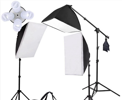 Photography Studio Top Light Softbox Continuous Lighting Kit 9 bulb Used 1ce