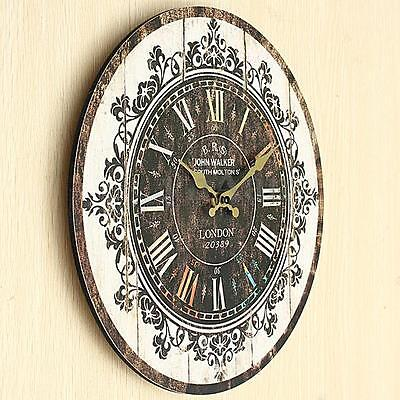 Large Vintage Tracery Shabby Chic Retro Kitchen Home Office Wooden Wall Clock