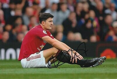 Harry Maguire Hand Signed 12x8 Photo - Football Autograph - Manchester United.