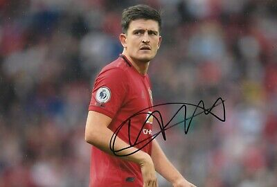 Harry Maguire Hand Signed 12x8 Photo - Football Autograph - Manchester United 1.