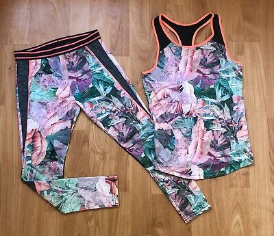 Next Girls Age 9 Years Sport Activ Set Tank Top Leggings Floral Multicolour Vgc