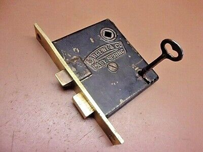 Antique Sargent & Co. Easy Spring Mortise Lock w/Key Pat. Jan. 26th,1886 Clean!