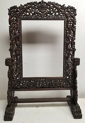 Antique Massive Chinese Carved Wood Rosewood Hongmu Table Screen Furniture
