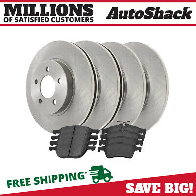 Auto Shack Front and Rear Ceramic Brake Pad and Rotor Bundle