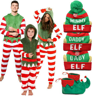 Matching Elf Family Christmas 1Onesie Fleece All in One Pyjamas Xmas Outfits UK