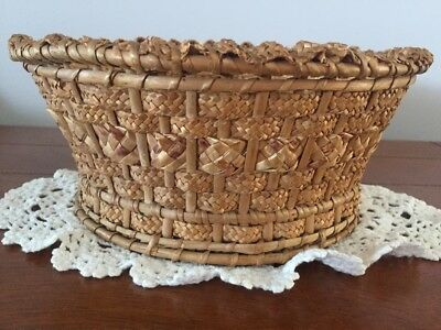 Rare Antique Early 1900'S Braided Rye Straw Woven Wicker Basket