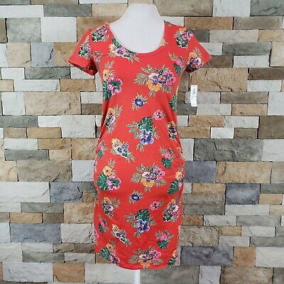 NWT Old Navy Womens Sz XS Maternity Speckle Side Ruched Bodycon Dress Red Floral