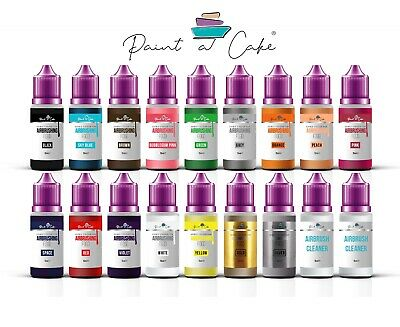Set of 16 Airbrush Food Colours for Cake Decorating Ethanol Based 2 x Cleaner UK