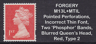 2013 Machin 1st Class Red SG U3025 FORGERY MI3L+MTIL Booklet Used Stamp Type 2
