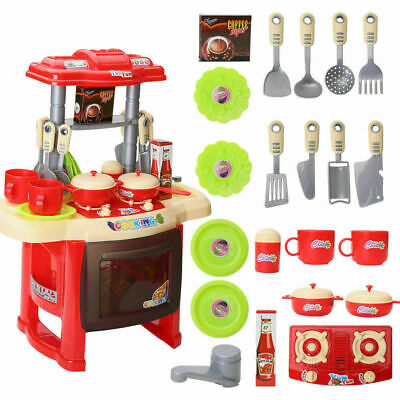 Kids Childrens Pretend Toy Kitchen Role Play Chef Set Plastic With Accessories