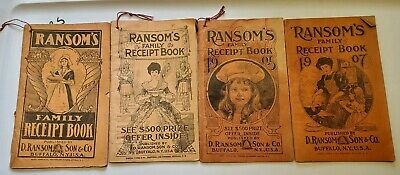 "Antique Ransom ""Receipt"" (Recipe) Book RANSOM MEDICINES 1902 1903 1905 1907"