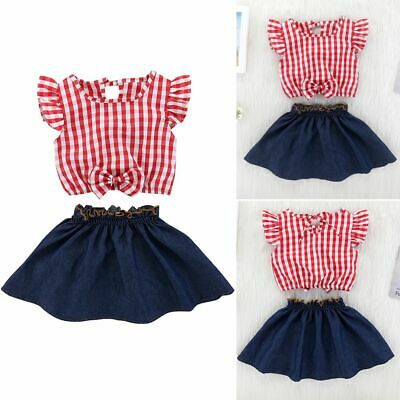 Clothes Blue Denim Skirt Baby Girls Outfits Ruffle Sleeve Plaids Print Tops