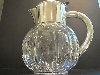Very Nice Mid Century Cut Glass and Silver Plate Pitcher