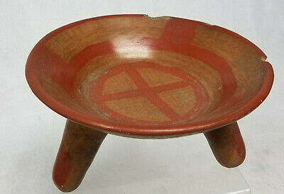Antique Pre-Columbian Style Rattle Bowl Simple Paint Decoration South American