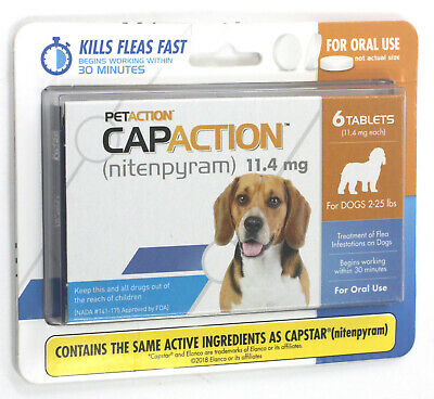 PetAction CapAction for Dogs 2-25 lbs Flea Treatment 6 Tablets exp 10/21