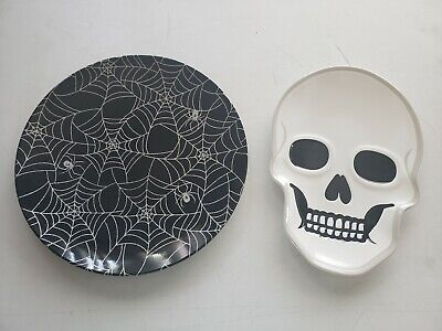 Halloween Home Decor Plates Set Skull Spider Spiderwebs Plate Melamine Brand New