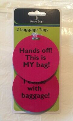 """Luggage Identification Name Tags 3""""  Pink         """"Hands Off"""""""