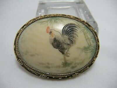 Antique Chinese Export Silver Filigree Fine Hand Painted Brooch Zodiac Rooster