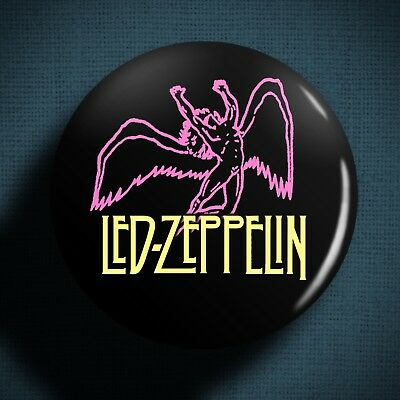 LED ZEPPELIN Pin Badge Button (1 inch 25mm) Swan Song Logo Rock Band Music 1970s