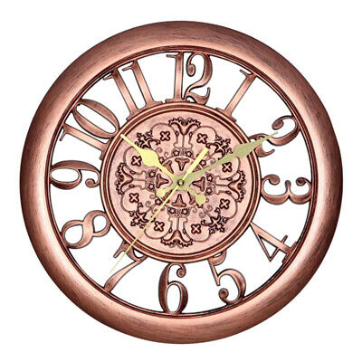 30CM Outdoor Garden Large Wall Clock Vintage Roman Numeral Gear Rustic Timer New
