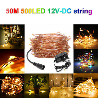 500 LED DC12V Micro Rice Wire Copper Fairy String Lights Party White/RGB UK plug