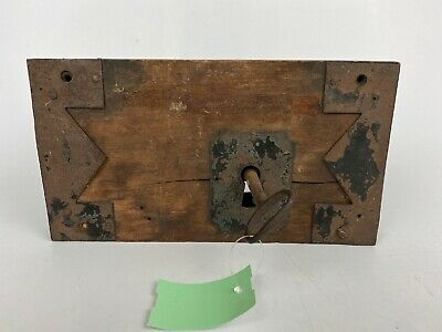 EUC Antique Wooden Metal Door Lock & Skeleton Key Antebellum WORKS!!