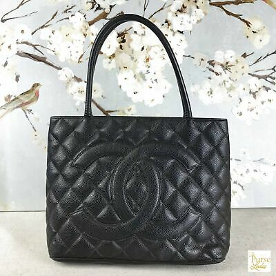 $2400 CHANEL Black Caviar Leather Medallion CC Logo Tote Bag Quilted SALE!