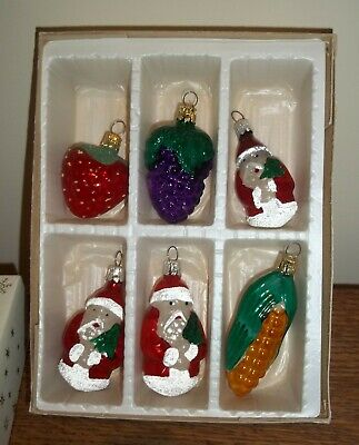 Vintage  Christmas Tree Decorations Boxed Santa Fruit Glass Czechoslovakia x 6