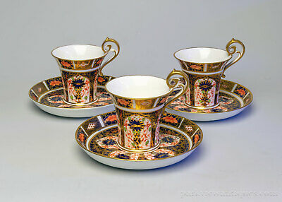 Set of 3 Royal Crown Derby 1128 Imari Empire Coffee/Tea Cups and Saucers C.1910