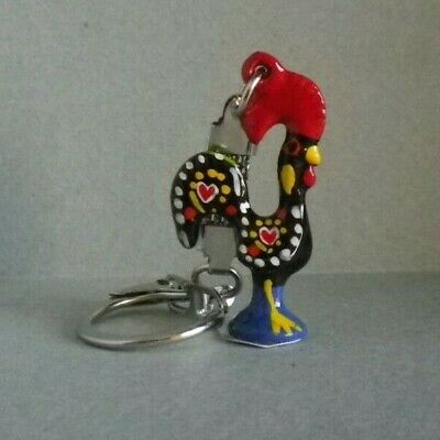 Souvenir from Portugal - Portuguese Good Luck Rooster Keychain - Hand Painted