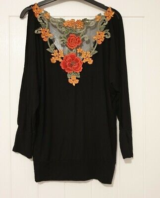 SELECT FLORAL APPLIQUE BATWING TOP BLACK Size 10. Stunning