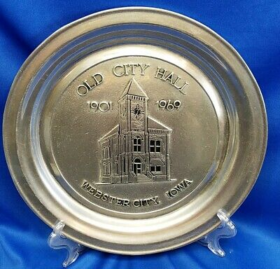 Old City Hall Webster City Iowa Historical Pewter Commemorative Plate Wilton