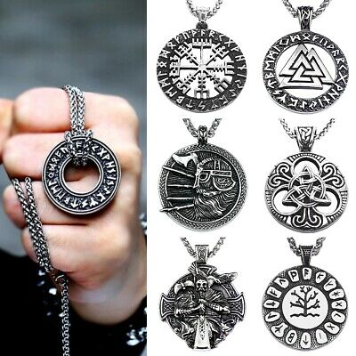 Viking Stainless Steel Rune Amulet Odin Celtic Warrior Norse Necklace Pendant