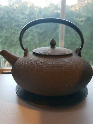 Cast Iron Japanese Teapot with Loose Leaf Infuser and Trivet - Brown/Black 6 CUP