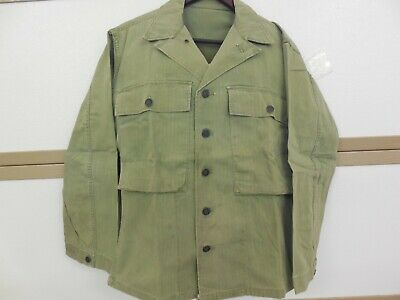 Vintage WW II US Army Harringbone HBT CCombat Jacket Shirt 13 Star Buttons