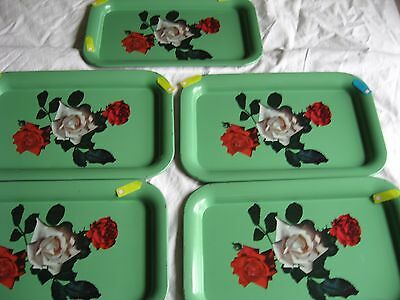 Vintage TV Tray Tole Metal Serving set of 5  GREEN Red White Roses 14 X 9