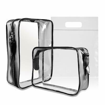 2 PACK Clear Toiletry Bag with Airport Security Liquid Bag (20cm x 20cm) UK & EU