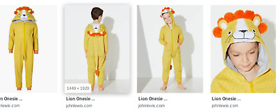 BNWT* John Lewis One (Bodysuit JumpSuit PJs Fancy Dress) LION - Childs Age 11