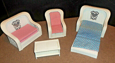 Vintage 1983 Barbie Dream Furniture Living Room Set Couch Sofabed Chair Table