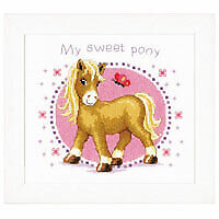 Vervaco PN-0145655 Canvas Sweet Pony Cushion Front Latch Hook Kit 40cm Approx