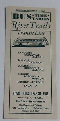 Vintage 1967 River Trails Transit Line Bus Time Table Dubuque Iowa Wenzel Paper